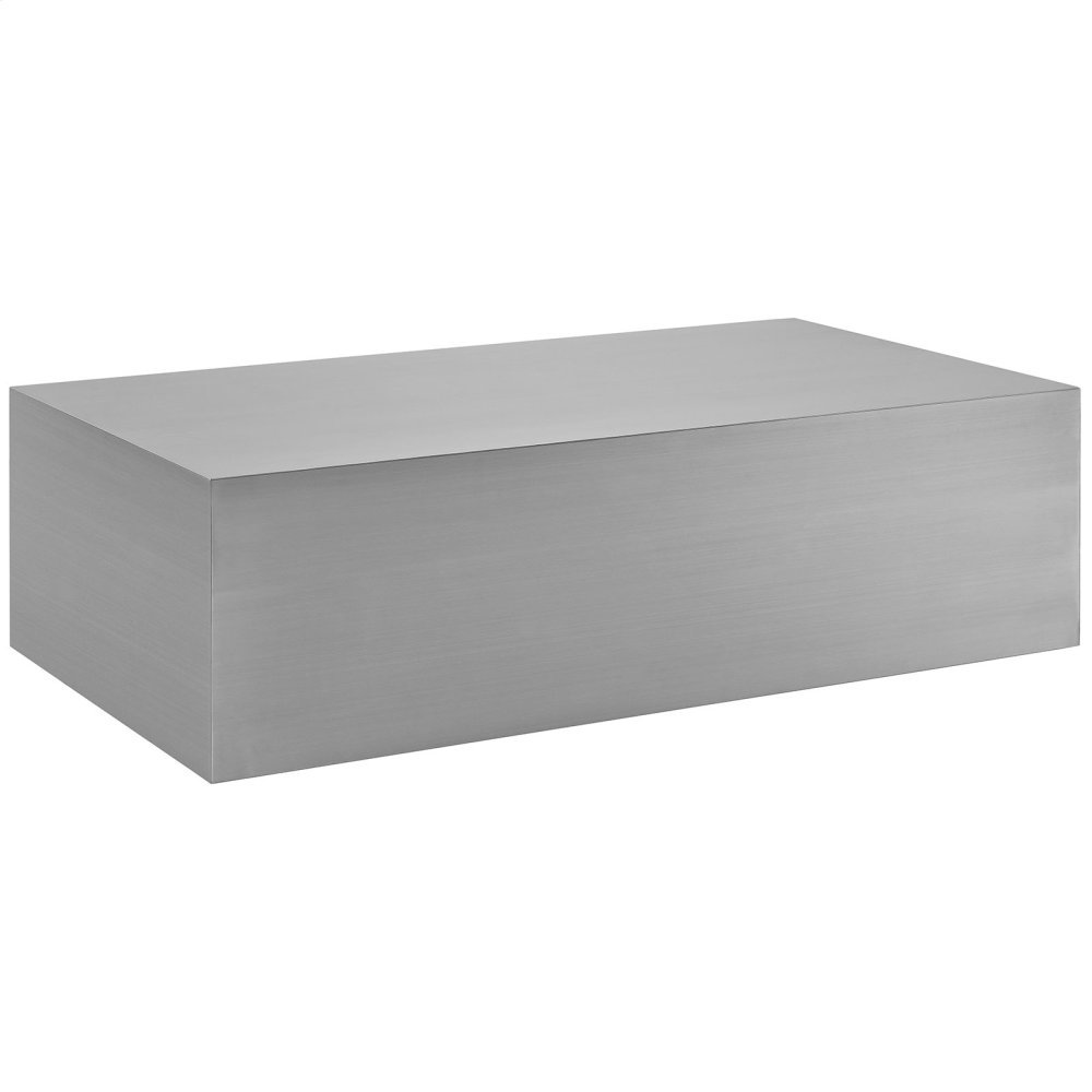 Cast Stainless Steel Coffee Table in Silver