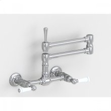 "Brushed Stainless - Wall Mount 17 3/4"" Articulated Dual Swivel Spout with White Ceramic Lever"