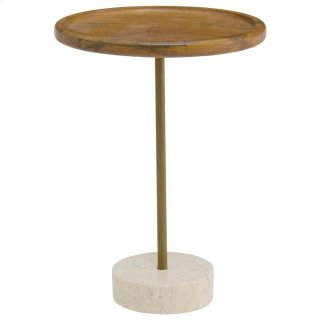 Roya KD Teak End Table Marble Base, Natural