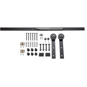 Barn Door Hardware Kit Traditional Strap with Soft-close Matte Black 8 Foot Length Product Image