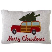 """""""Merry Christmas"""" Woody Knit Lumbar Pillow."""