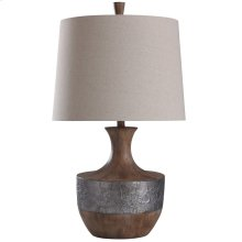 Darley Table Lamp 30In Silver Vein Relief Banded & Chestnut Grained 150 Watts 3-Way
