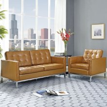 Loft Loveseat Leather 2 Piece Set in Tan