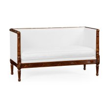 Regency Style Walnut Upholstered Settee (COM)