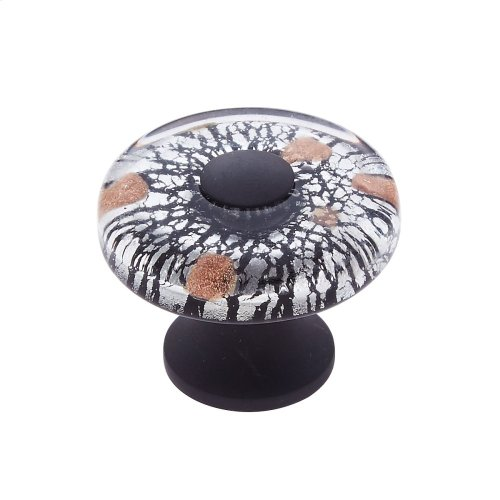 Oil Rubbed Bronze 35 mm Clear Flat Round Knob