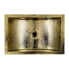 23.5 Inch X 15.5 Inch Hand Hammered Brass Rectangle Undermount Bathroom Sink with Overflow