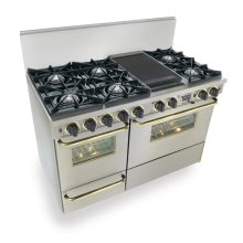 "48"" Dual Fuel, Convect, Self Clean, Open Burners, Stainless Steel with Brass Trim"