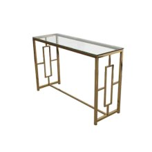 Gold Metal/glass Console Table, Kd
