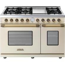 Range DECO 48'' Classic Cream matte, Bronze 6 gas, griddle and 2 gas ovens
