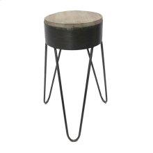 Metal & Wood Tri-leg Accent Table