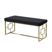 Black/gold Velveteen Bench, Kd