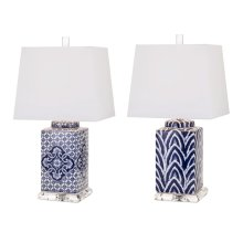 Carolina Hand-painted Ceramic Lamp - Ast 2