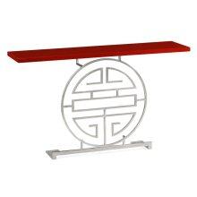 Silver iron console table in Emperor dark red