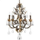 5 Lites Chandelier - ANT.BRONZE Prism Crystals, B 40wx5 Product Image