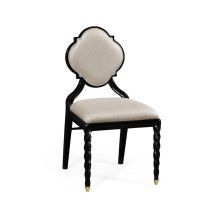 Side chair with twist leg, upholstered in MAZO