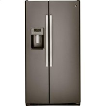 GE® 23.2 Cu. Ft. Side-By-Side Refrigerator.  (This is a Stock Photo, actual unit (s) appearance may contain cosmetic blemishes. Please call store if you would like actual pictures). This unit carries A ONE YEAR MANUFACTURER WARRANTY. REBATE NOT VALID with this item. ISI 34162GH