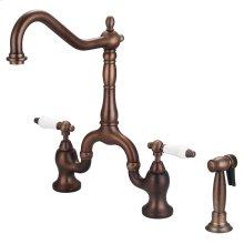 Carlton Kitchen Bridge Faucet with Porcelain Lever Handles - Oil Rubbed Bronze