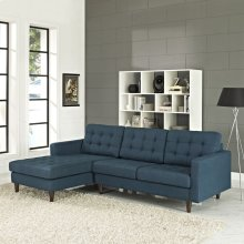 Empress Left-Facing Upholstered Fabric Sectional Sofa in Azure