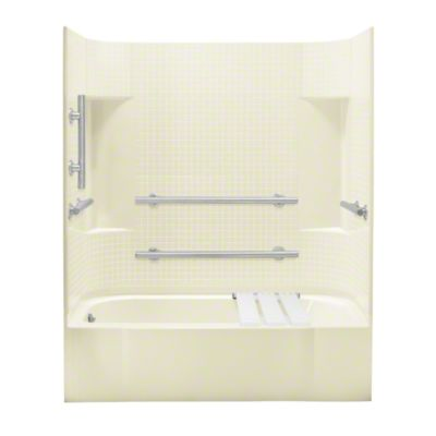 "Accord®, Series 7114, 60"" x 30"" x 74-1/4"" ADA Tile Bath/Shower - Left-hand Drain - KOHLER Biscuit"