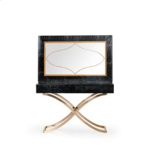 A&X Aversa Modern Black Crocodile Console Table & Mirror