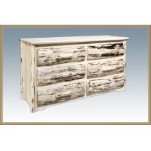 Premium Montana Rustic 6 Drawer Dresser With Log Front Drawers, Dovetailed Drawers And Full Extension Glides