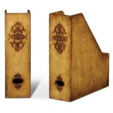 Pair of box file bookends (Raised veneer)