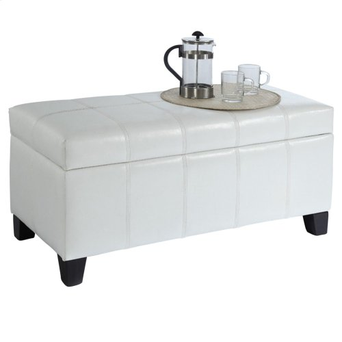 Bella Rectangular Storage Ottoman in White
