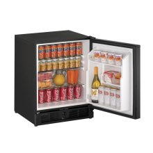 "CLOSEOUT ITEM : 21"" ADA Solid Door Refrigerator Black Solid Field Reversible"