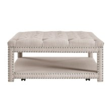 Beige Button Tufted Cocktail Ottoman