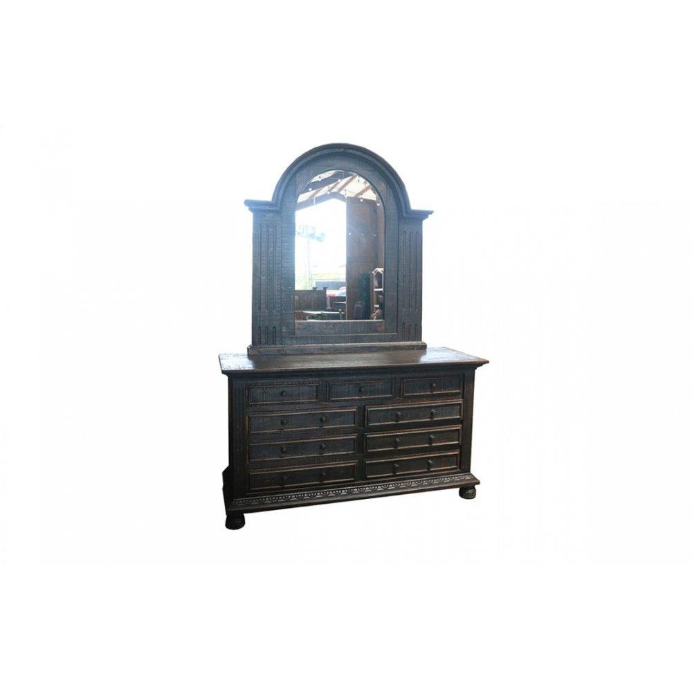 Factory 4 Rustic Dresser Mirror, Antique Black