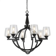 HAND FORGED IRON BEVERLY 6 LIGHT CHANDELIER WITH GLASS SHADES