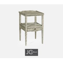 Rustic Grey Square Lamp Table with Drawer