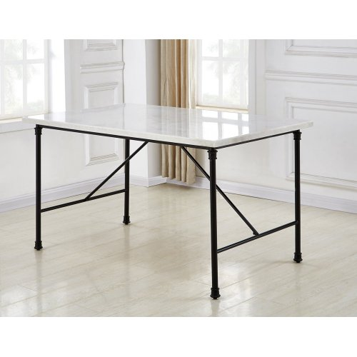 Claire White Marble Top Dining Table 54''x34''x30''H