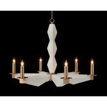 Sculptural Alabaster and Brass Six-Light Chandelier