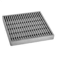 """Brushed Stainless - 6"""" x 6"""" Bar Channel Drain Grate"""
