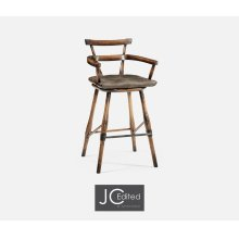 Dark Brown Oak Arm Bar Stool with Studded Haven Leather Seat