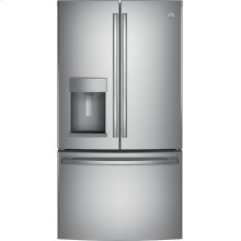 GE® 22.2 Cu. Ft. Counter-Depth French-Door Refrigerator.  (This is a Stock Photo, actual unit (s) appearance may contain cosmetic blemishes. Please call store if you would like actual pictures). This unit carries A ONE YEAR MANUFACTURER WARRANTY. REBATE NOT VALID with this item. ISI 34166