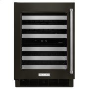 """24"""" Wine Cellar with Glass Door and Metal-Front Racks - Black Stainless Steel with PrintShield™ Finish Product Image"""
