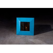 Bamboo Square Mirror, Blue
