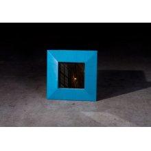 Bamboo Square Mirror, Blue