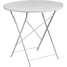 "Commercial Grade 30"" Round White Indoor-Outdoor Steel Folding Patio Table"