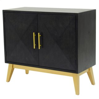Leonardo KD Cabinet 2 Doors Gold Legs, Black Wash