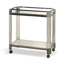 Polished Stainless Steel  32in X 17in X 31in Stainless Steel and Acrylic Transitional Bar Cart