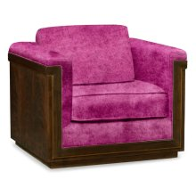 36'' Antique Mahogany Brown High Lustre Sofa Chair, Upholstered in Fuschia Velvet