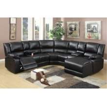 Black Reclining Section with Reclining Chaise, Cup Holders and Storage