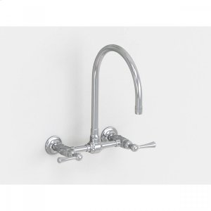 """Brushed Stainless - Wall Mount 10"""" Swivel Spout with Metal Lever Product Image"""
