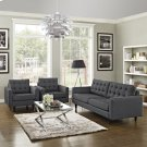 Empress Sofa and Armchairs Set of 3 in Gray Product Image