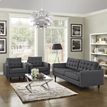 Empress Sofa and Armchairs Set of 3 in Gray