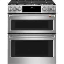 """Café 30"""" Smart Slide-In, Front-Control, Dual-Fuel Double-Oven Range with Convection"""