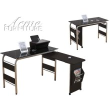 Garion Black Tempered Glass Finish Computer Desk Set